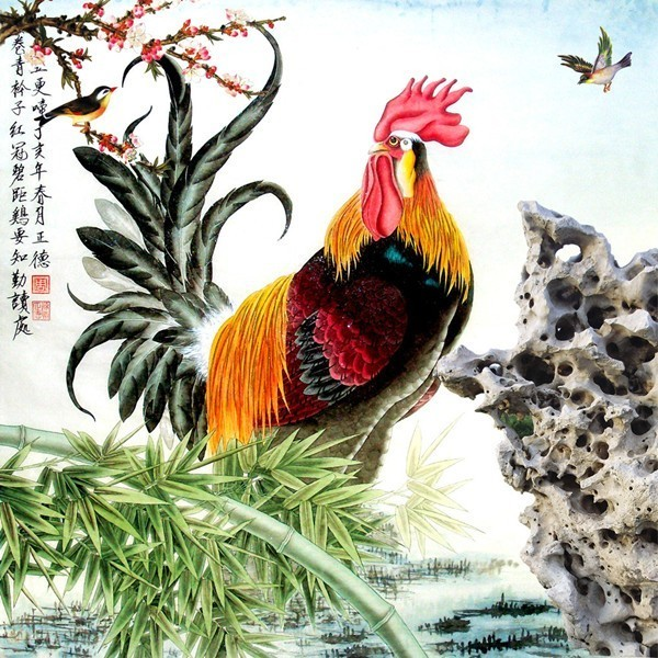 表示能得官;画一只大公鸡,身后紧跟着五只小雏鸡,其口彩便是