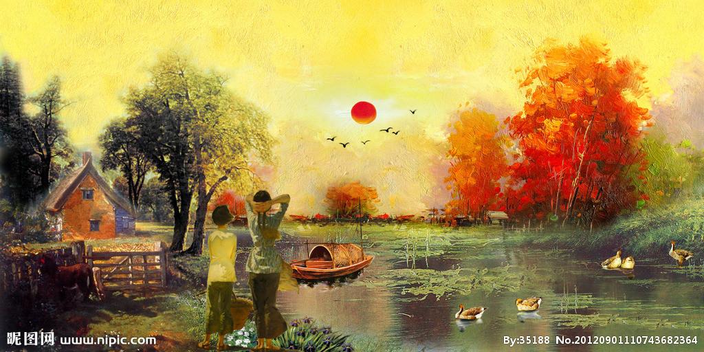 油画 风景 海边 日出